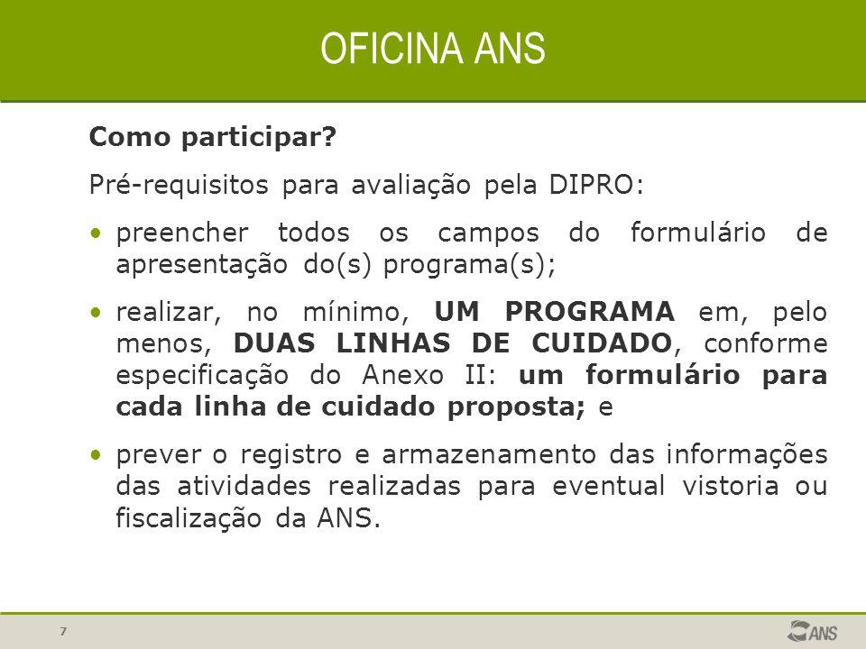 OFICINA ANS Como participar Pré-requisitos para avaliação pela DIPRO: