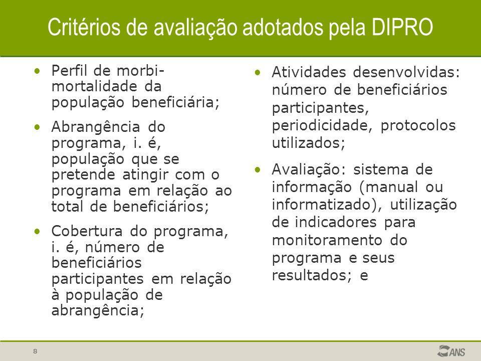 Critérios de avaliação adotados pela DIPRO