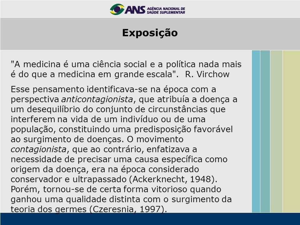Exposição A medicina é uma ciência social e a política nada mais é do que a medicina em grande escala . R. Virchow.
