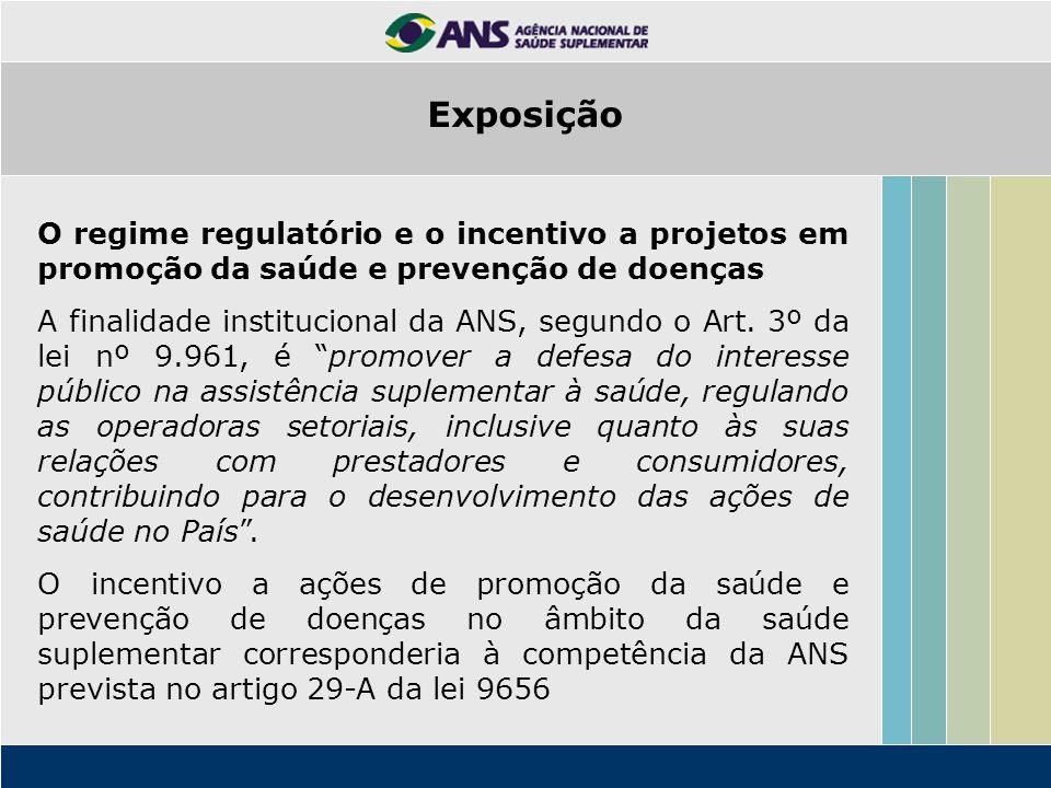 Exposição O regime regulatório e o incentivo a projetos em promoção da saúde e prevenção de doenças.
