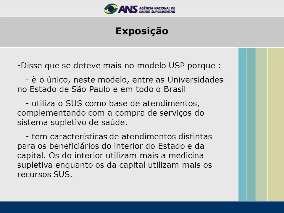 Exposição Disse que se deteve mais no modelo USP porque :