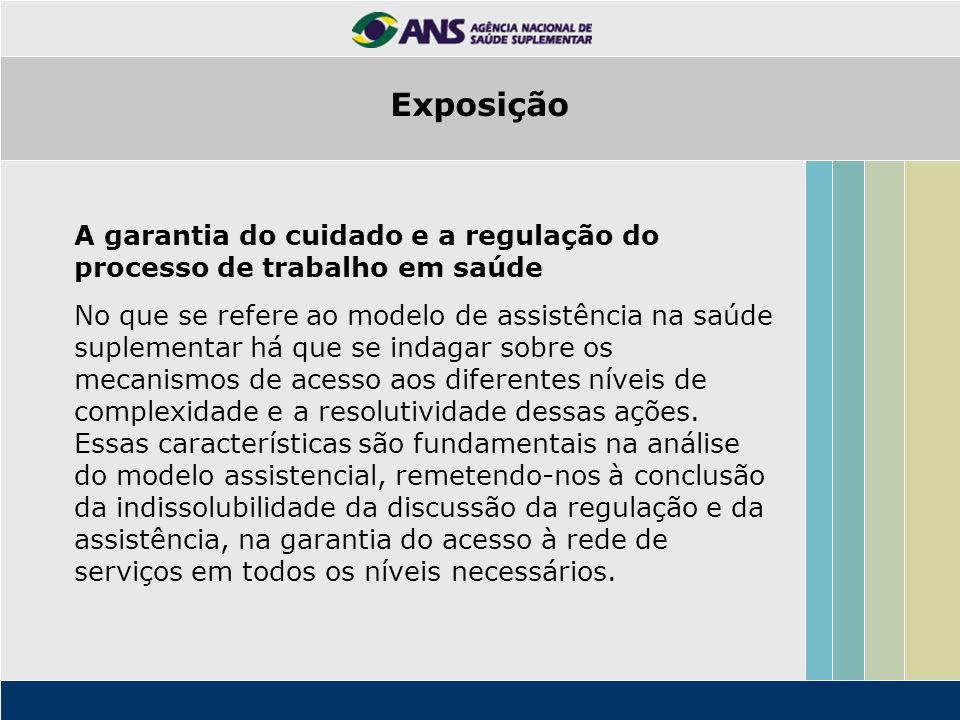 Exposição A garantia do cuidado e a regulação do processo de trabalho em saúde.