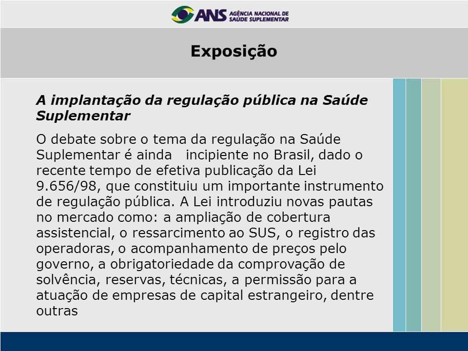 Exposição A implantação da regulação pública na Saúde Suplementar