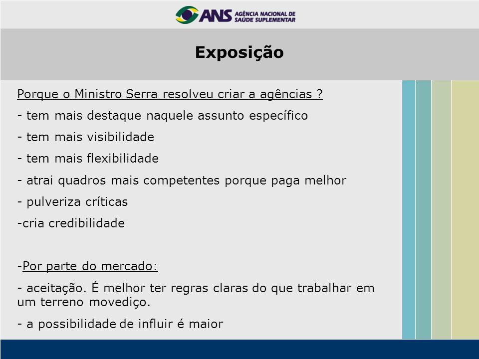 Exposição Porque o Ministro Serra resolveu criar a agências