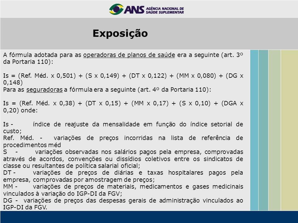 Exposição A fórmula adotada para as operadoras de planos de saúde era a seguinte (art. 3º da Portaria 110):
