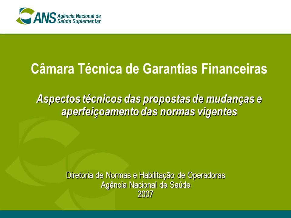 Câmara Técnica de Garantias Financeiras Aspectos técnicos das propostas de mudanças e aperfeiçoamento das normas vigentes
