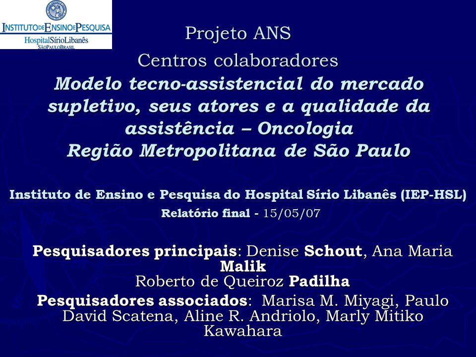 Projeto ANS Centros colaboradores Modelo tecno-assistencial do mercado supletivo, seus atores e a qualidade da assistência – Oncologia Região Metropolitana de São Paulo Instituto de Ensino e Pesquisa do Hospital Sírio Libanês (IEP-HSL) Relatório final - 15/05/07