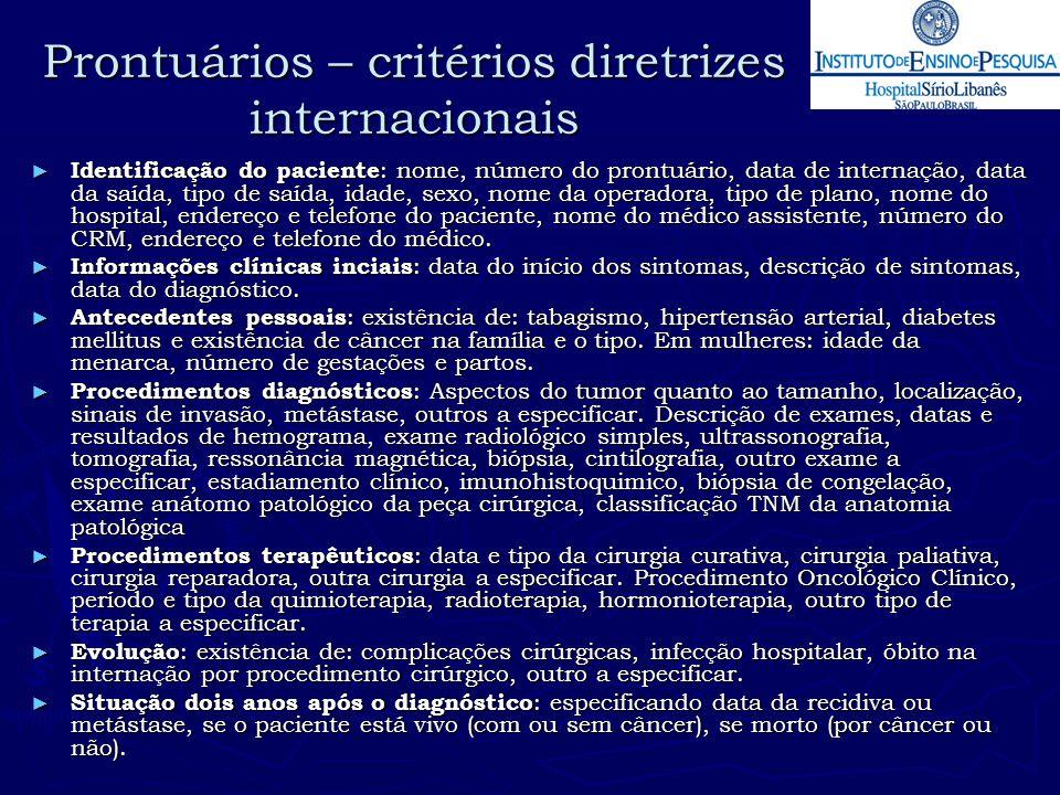 Prontuários – critérios diretrizes internacionais