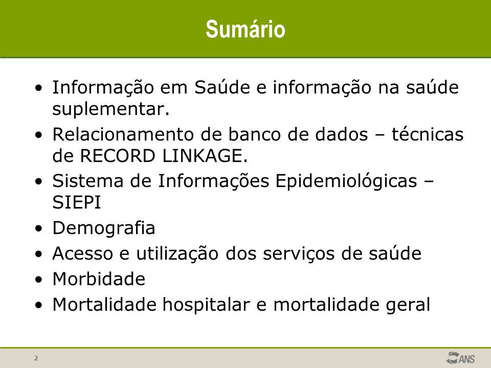 Sumário Informação em Saúde e informação na saúde suplementar.