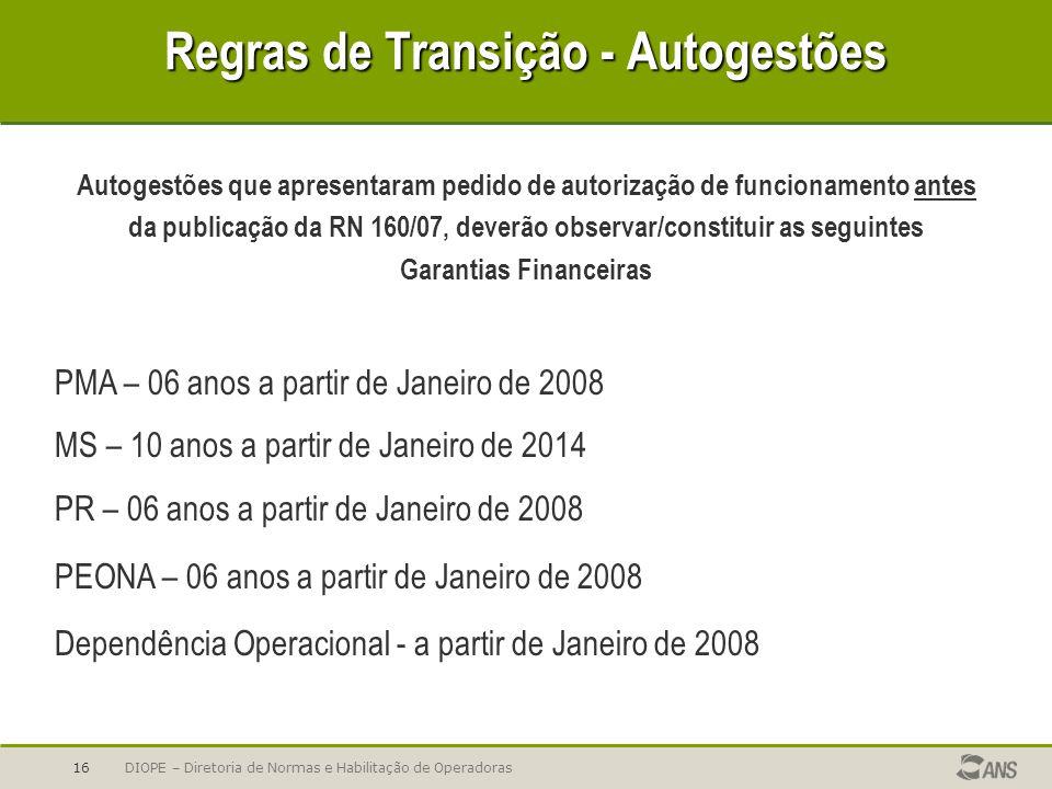 Regras de Transição - Autogestões