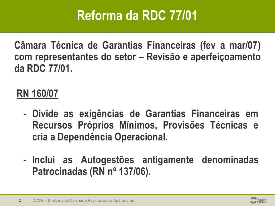 Reforma da RDC 77/01 Câmara Técnica de Garantias Financeiras (fev a mar/07) com representantes do setor – Revisão e aperfeiçoamento da RDC 77/01.