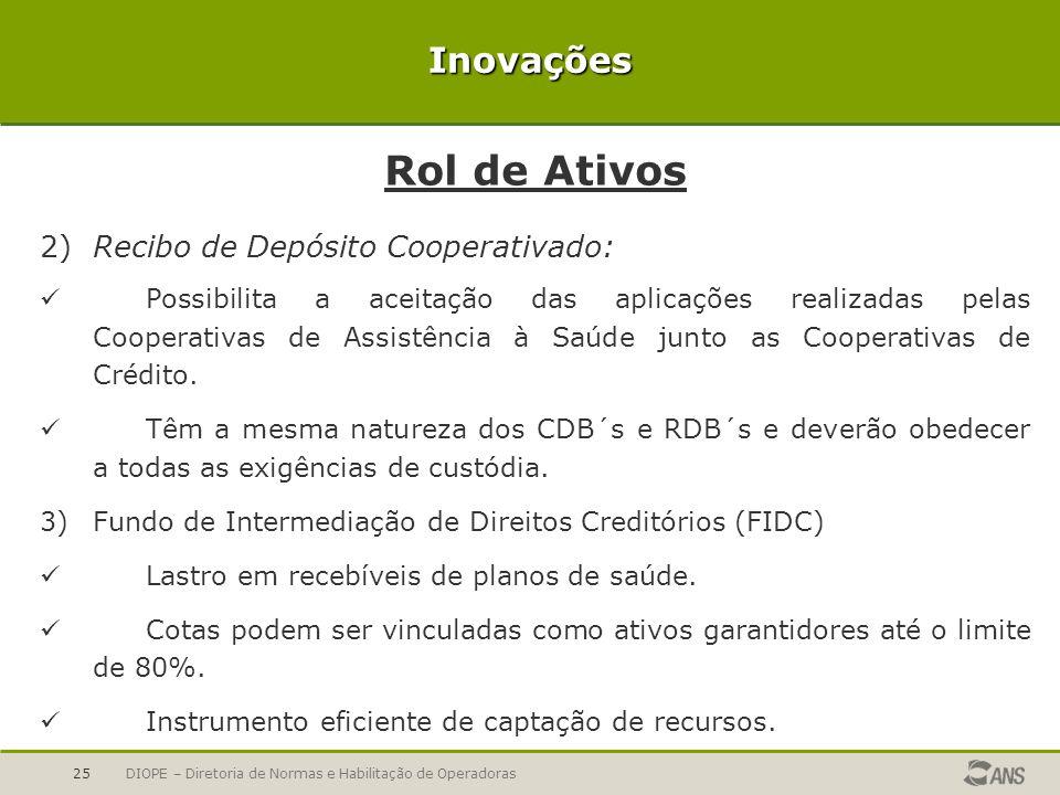 Rol de Ativos Inovações 2) Recibo de Depósito Cooperativado: