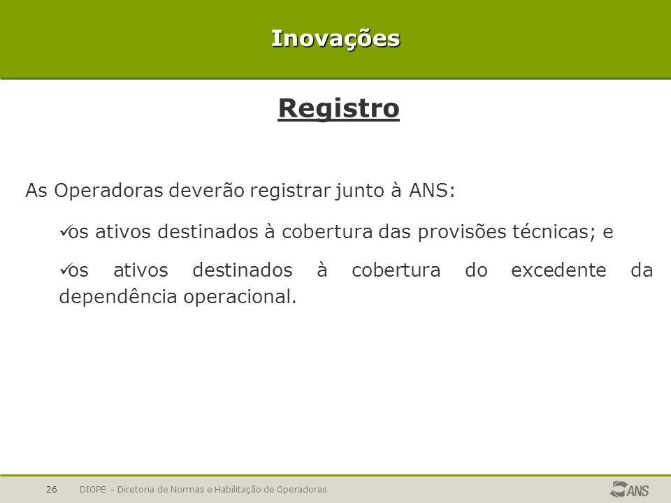 Registro Inovações As Operadoras deverão registrar junto à ANS: