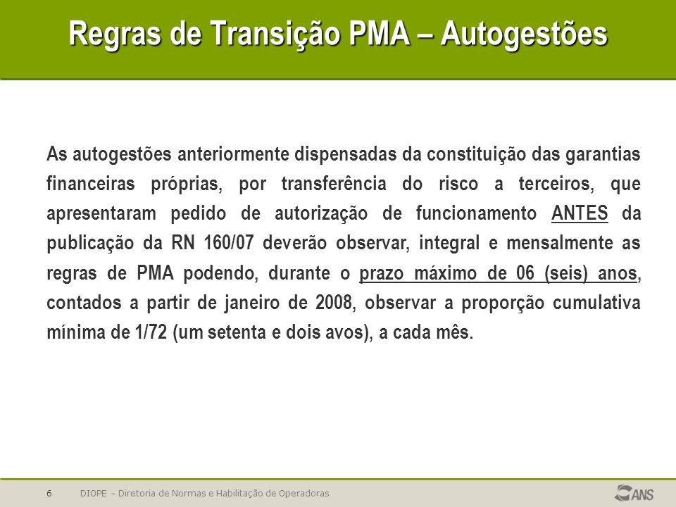 Regras de Transição PMA – Autogestões