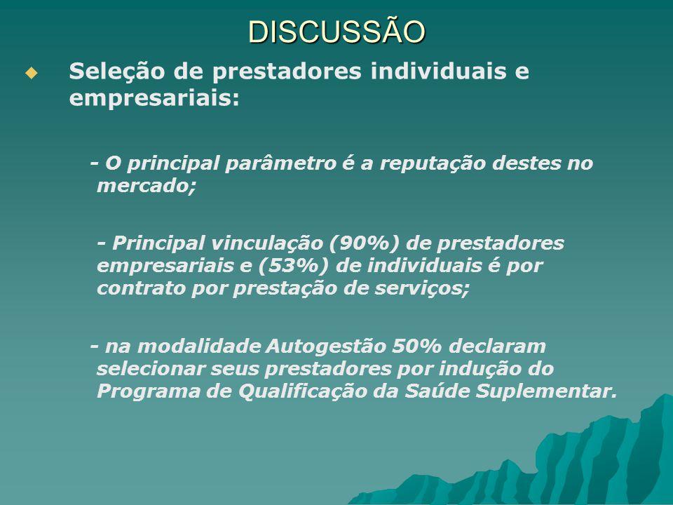 DISCUSSÃO Seleção de prestadores individuais e empresariais:
