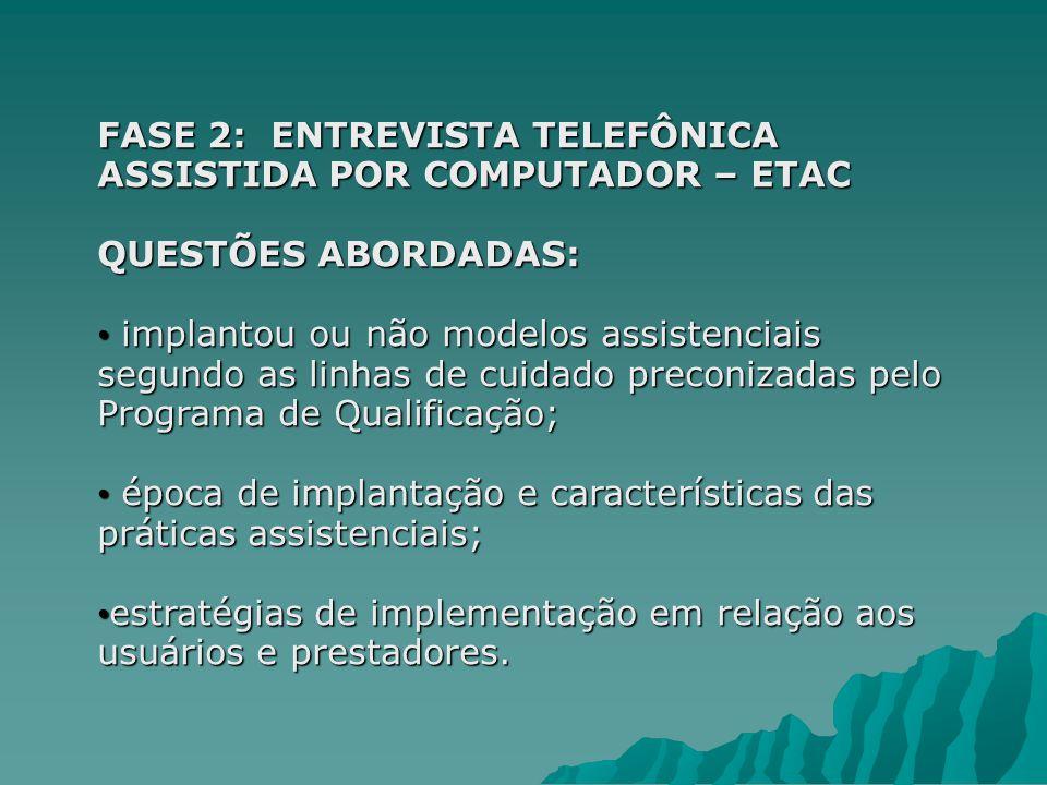 FASE 2: ENTREVISTA TELEFÔNICA ASSISTIDA POR COMPUTADOR – ETAC