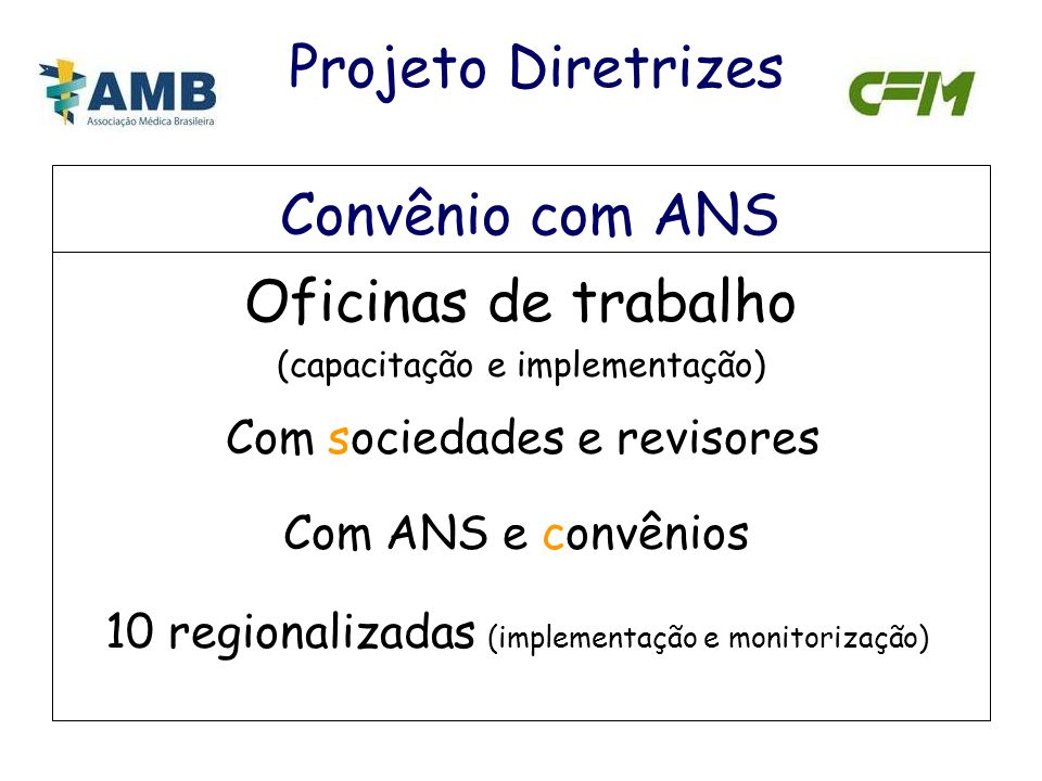 Projeto Diretrizes Convênio com ANS Oficinas de trabalho