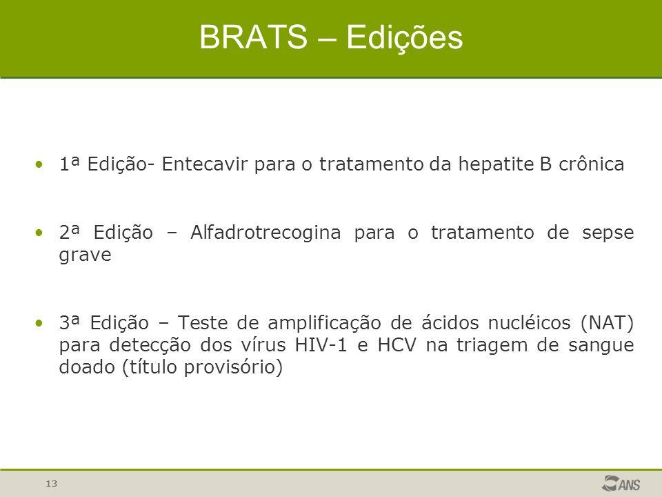 BRATS – Edições 1ª Edição- Entecavir para o tratamento da hepatite B crônica. 2ª Edição – Alfadrotrecogina para o tratamento de sepse grave.