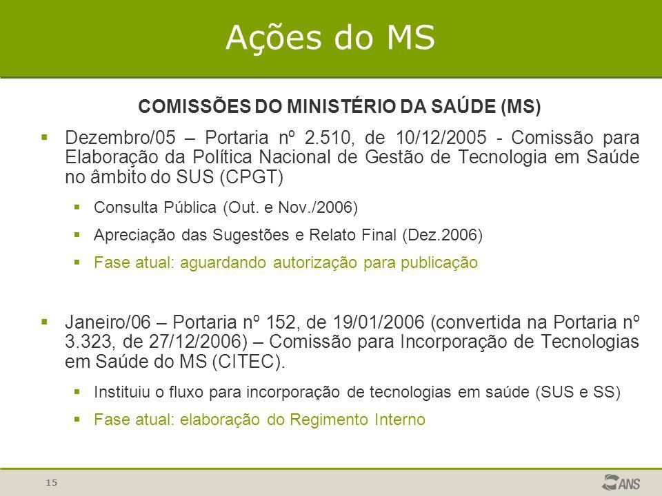 COMISSÕES DO MINISTÉRIO DA SAÚDE (MS)