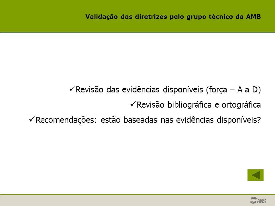 Validação das diretrizes pelo grupo técnico da AMB