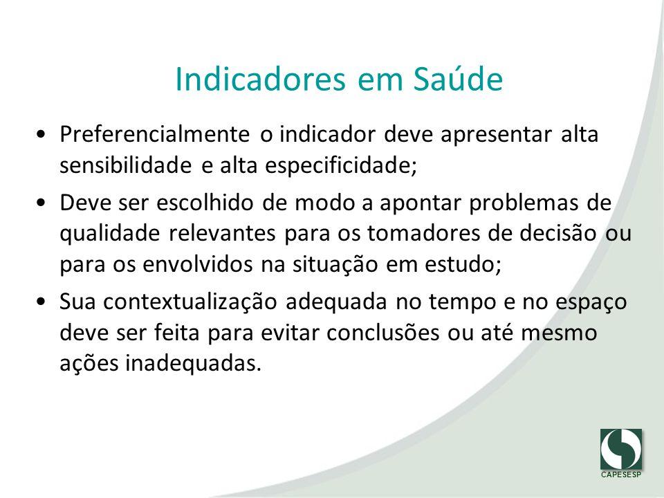 Indicadores em Saúde Preferencialmente o indicador deve apresentar alta sensibilidade e alta especificidade;