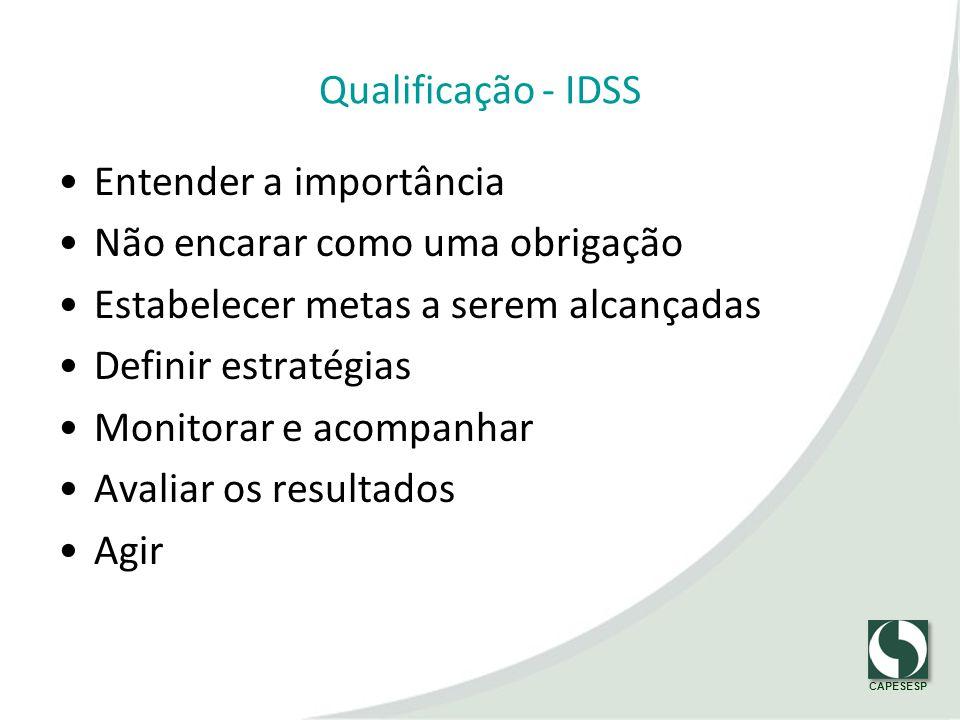 Qualificação - IDSS Entender a importância. Não encarar como uma obrigação. Estabelecer metas a serem alcançadas.