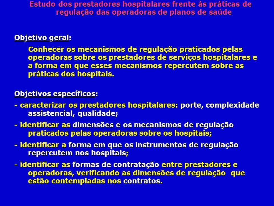 Estudo dos prestadores hospitalares frente às práticas de regulação das operadoras de planos de saúde