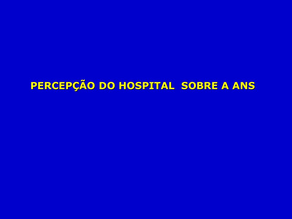 PERCEPÇÃO DO HOSPITAL SOBRE A ANS