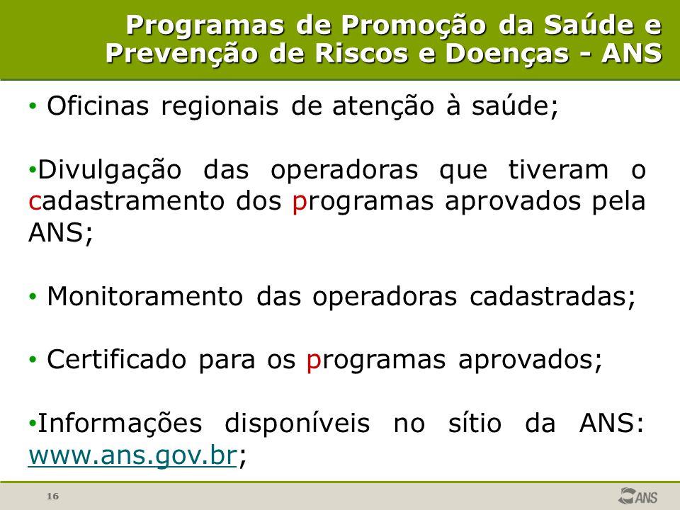 Programas de Promoção da Saúde e Prevenção de Riscos e Doenças - ANS