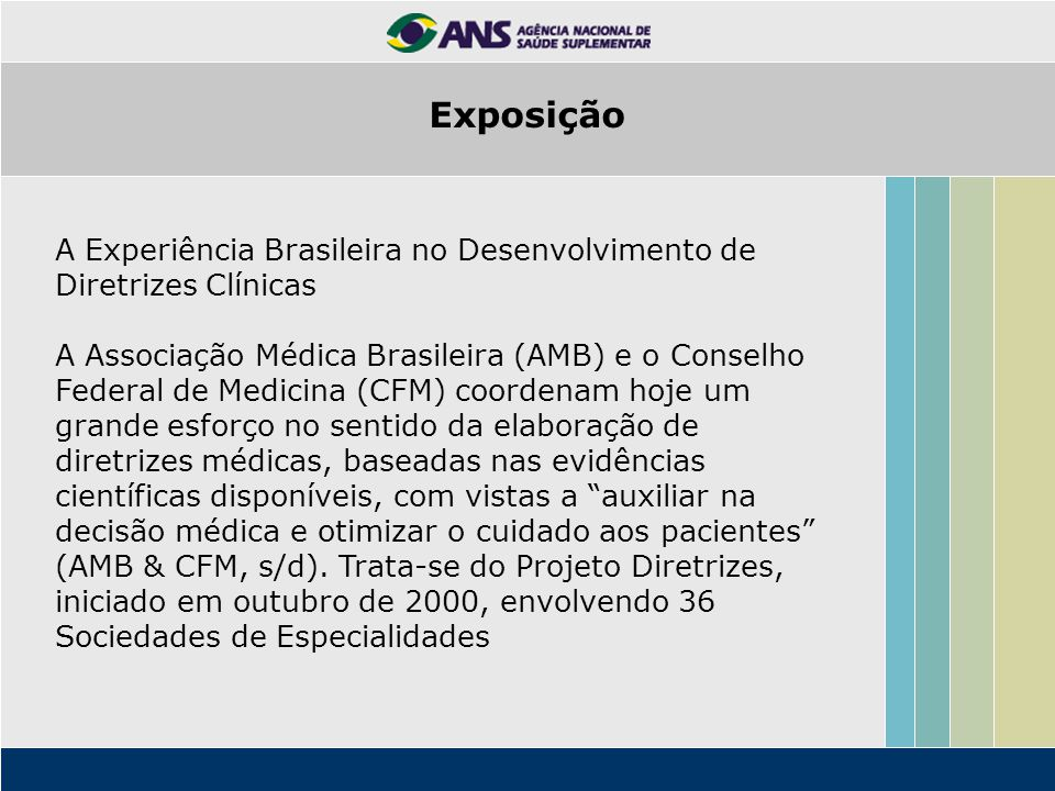 Exposição A Experiência Brasileira no Desenvolvimento de Diretrizes Clínicas.