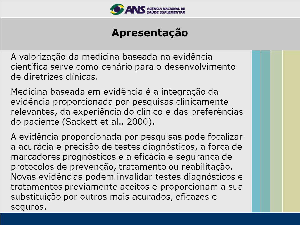 Apresentação A valorização da medicina baseada na evidência científica serve como cenário para o desenvolvimento de diretrizes clínicas.