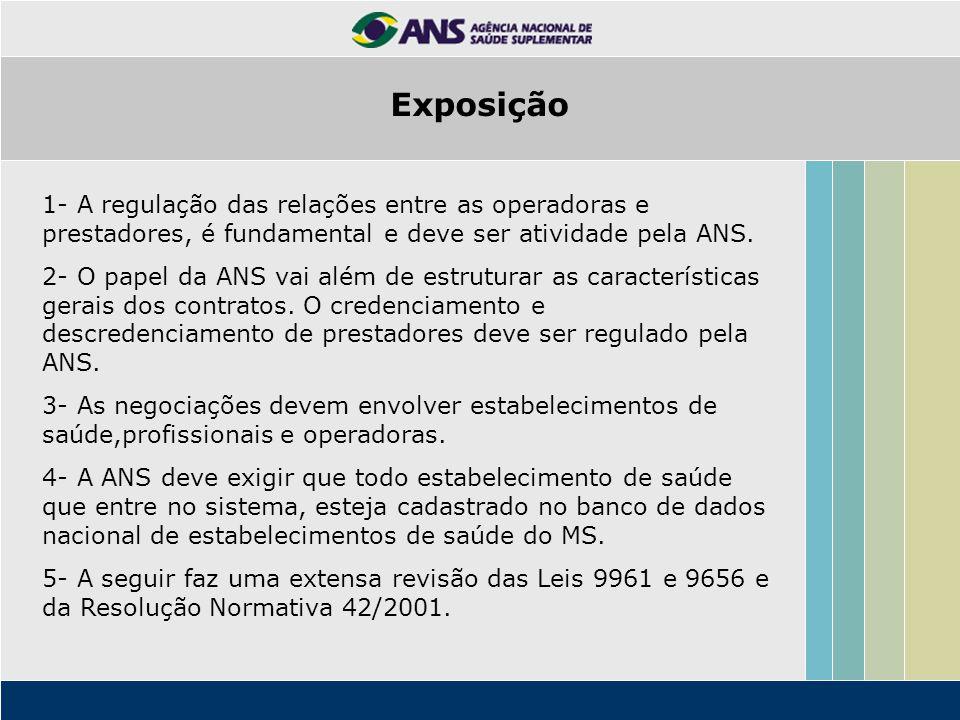 Exposição 1- A regulação das relações entre as operadoras e prestadores, é fundamental e deve ser atividade pela ANS.