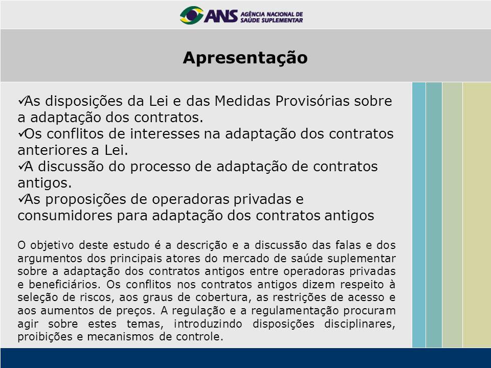 Apresentação As disposições da Lei e das Medidas Provisórias sobre a adaptação dos contratos.