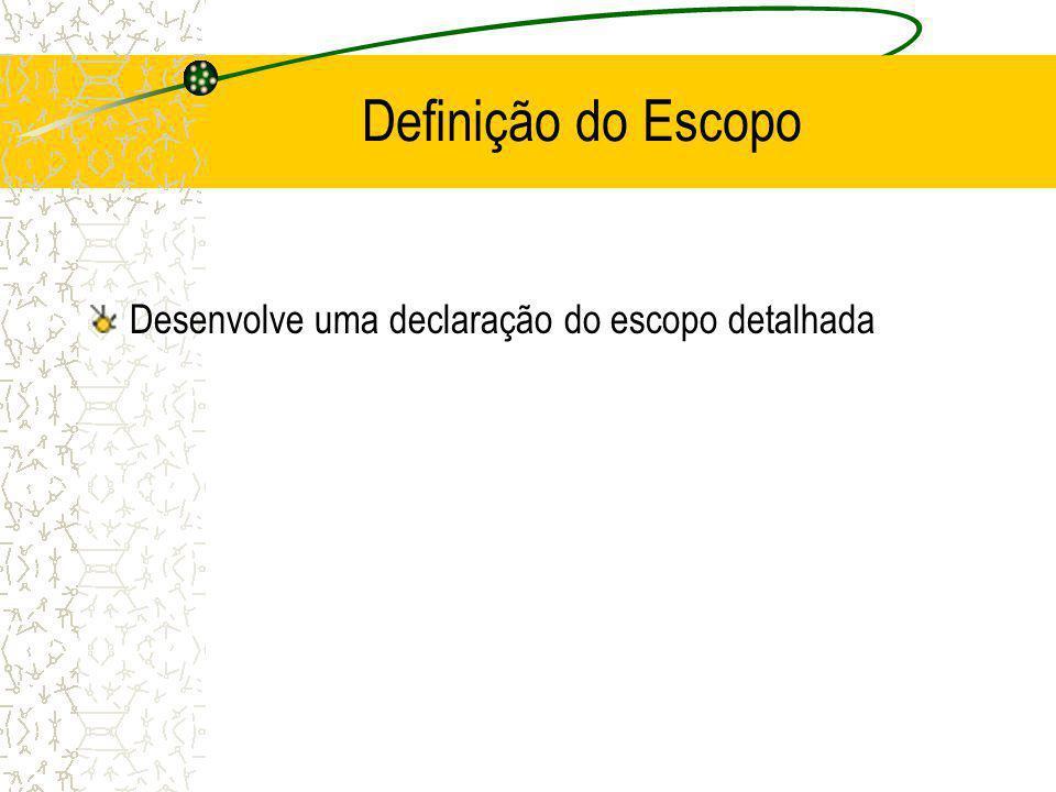 Definição do Escopo Desenvolve uma declaração do escopo detalhada