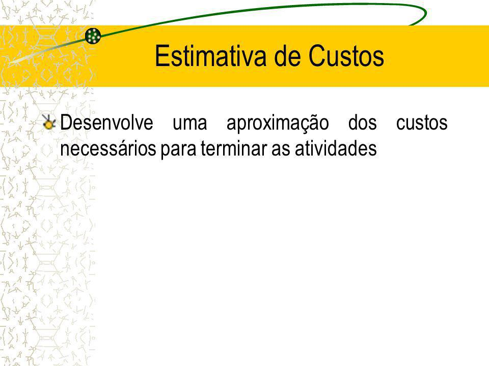 Estimativa de Custos Desenvolve uma aproximação dos custos necessários para terminar as atividades