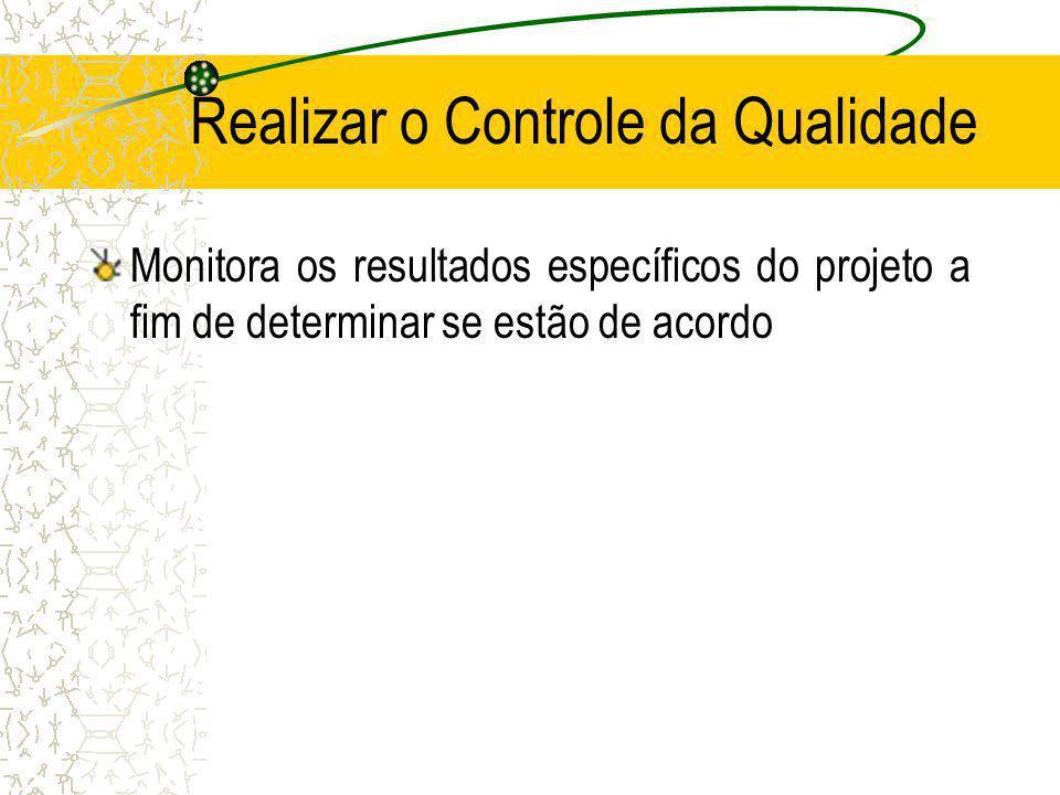 Realizar o Controle da Qualidade