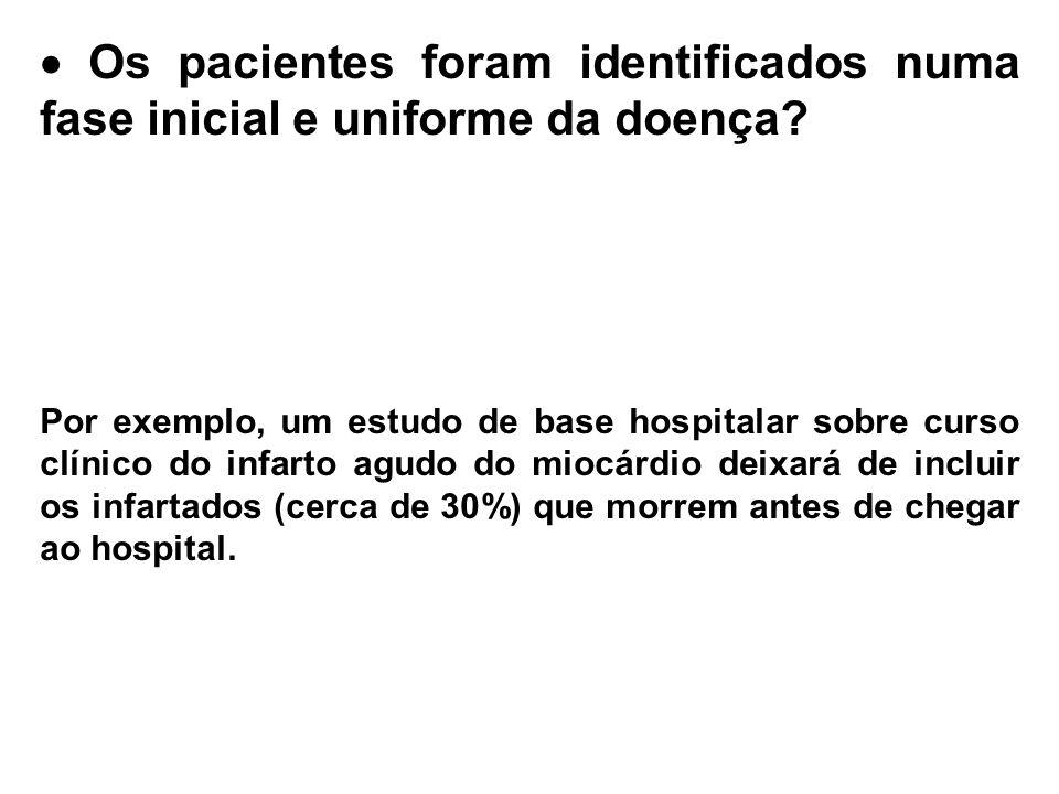  Os pacientes foram identificados numa fase inicial e uniforme da doença