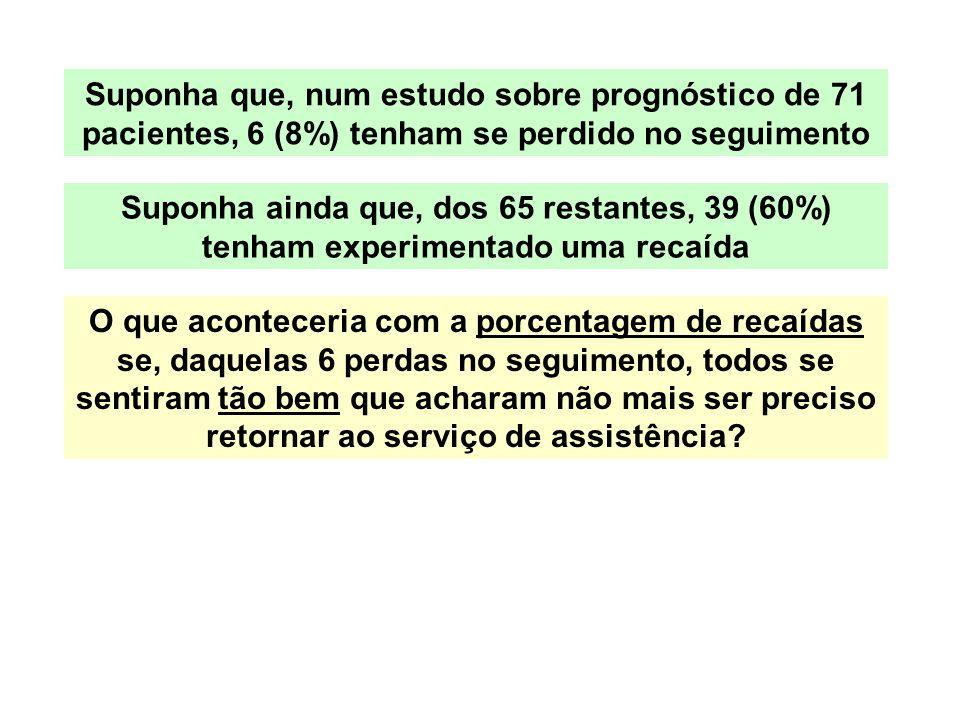 Suponha que, num estudo sobre prognóstico de 71 pacientes, 6 (8%) tenham se perdido no seguimento