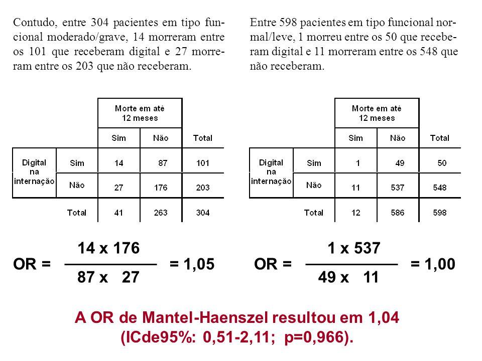 A OR de Mantel-Haenszel resultou em 1,04