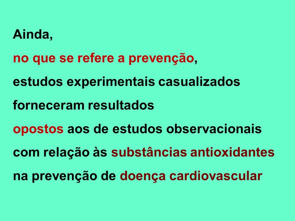 Ainda, no que se refere a prevenção, estudos experimentais casualizados. forneceram resultados. opostos aos de estudos observacionais.