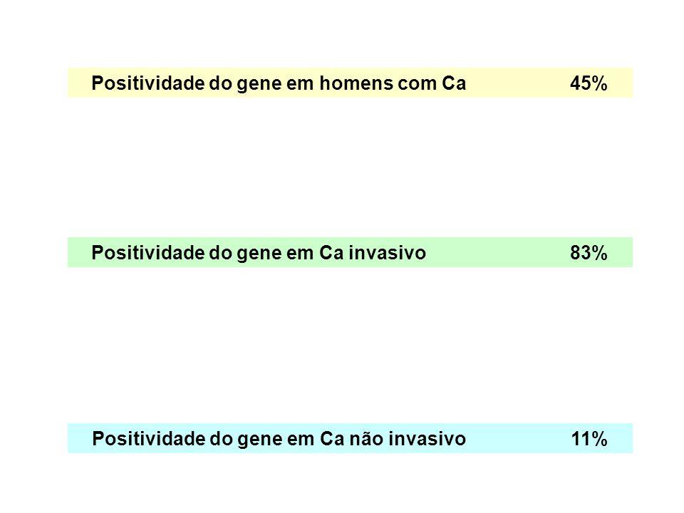 Positividade do gene em homens com Ca 45%