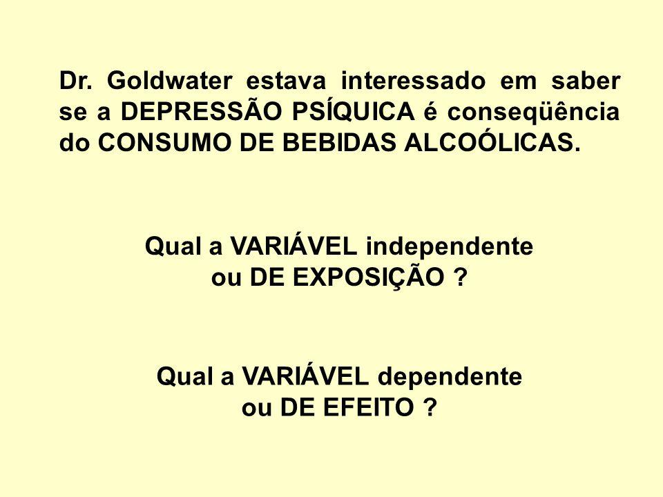 Qual a VARIÁVEL independente Qual a VARIÁVEL dependente