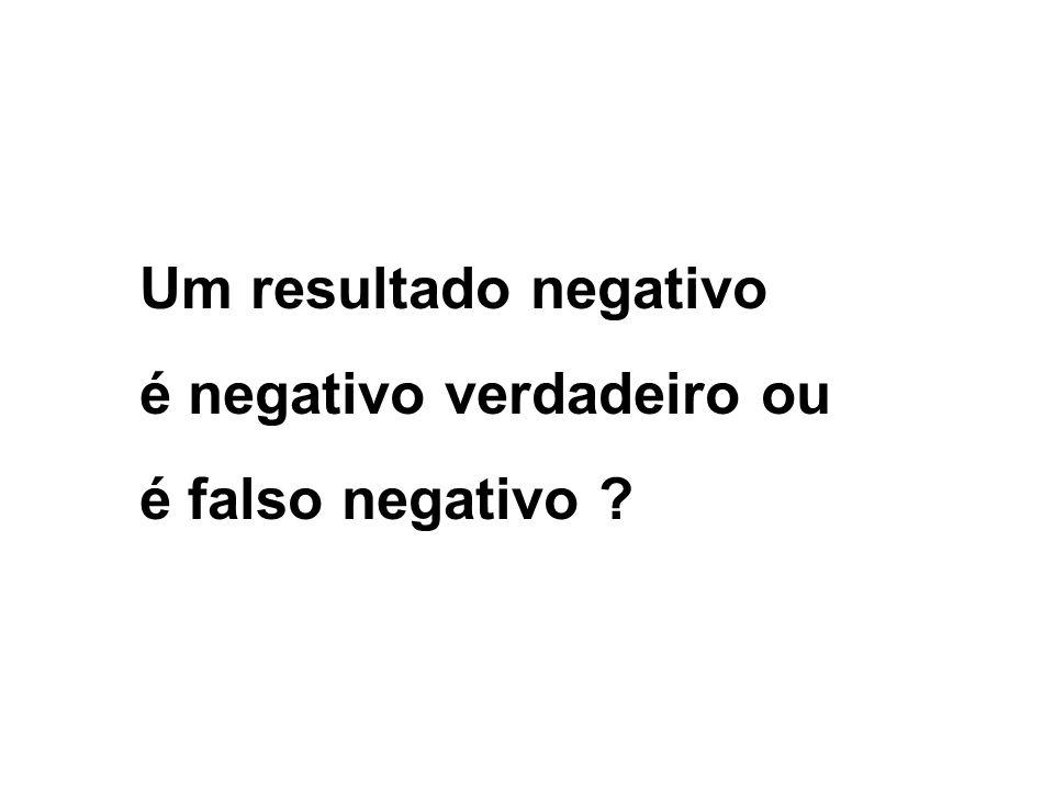 Um resultado negativo é negativo verdadeiro ou é falso negativo