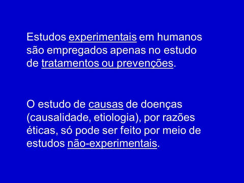 Estudos experimentais em humanos são empregados apenas no estudo de tratamentos ou prevenções.