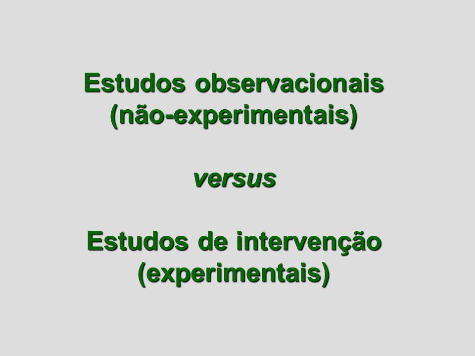 Estudos observacionais Estudos de intervenção