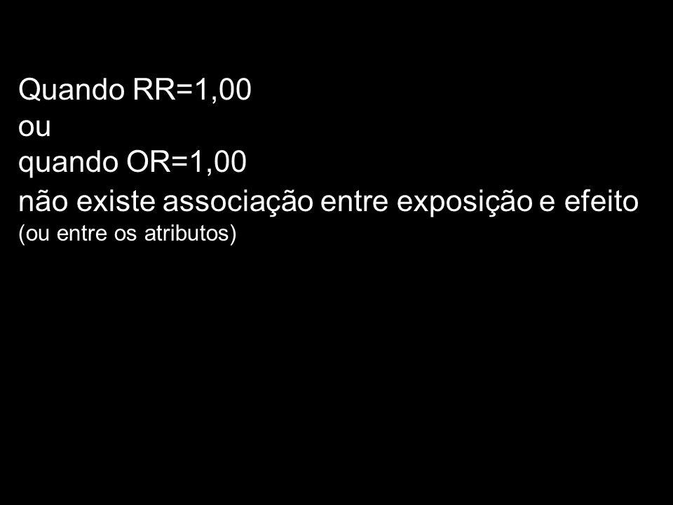 Quando RR=1,00 ou. quando OR=1,00.