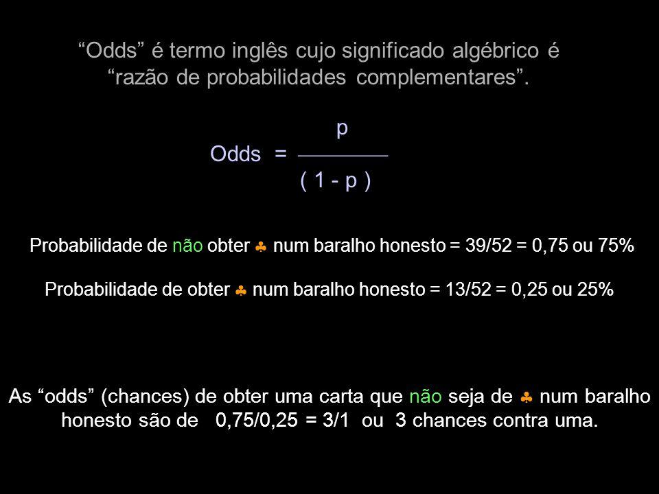 Odds é termo inglês cujo significado algébrico é razão de probabilidades complementares .