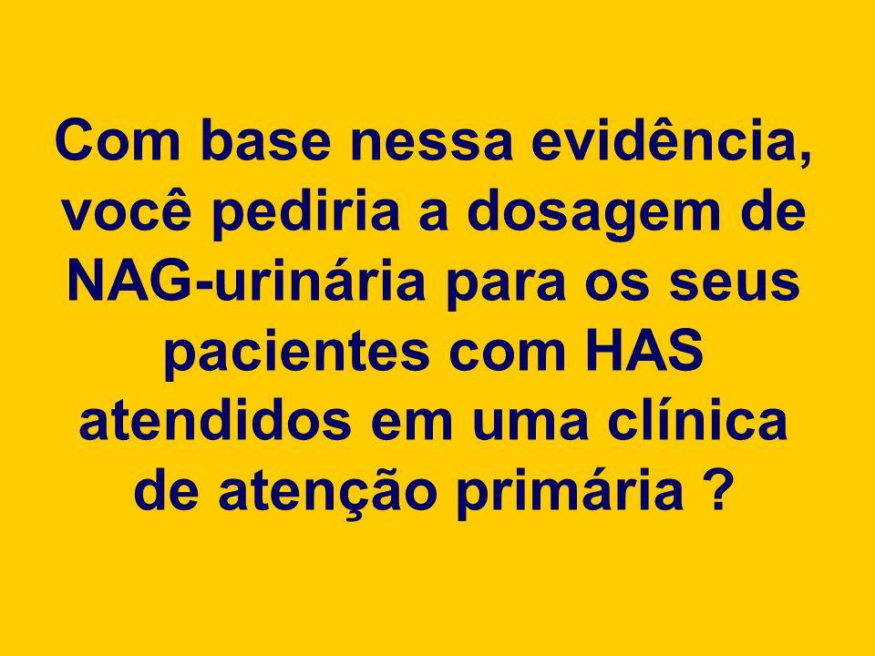 Com base nessa evidência, você pediria a dosagem de NAG-urinária para os seus pacientes com HAS atendidos em uma clínica de atenção primária