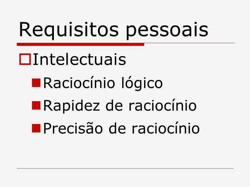 Requisitos pessoais Intelectuais Raciocínio lógico