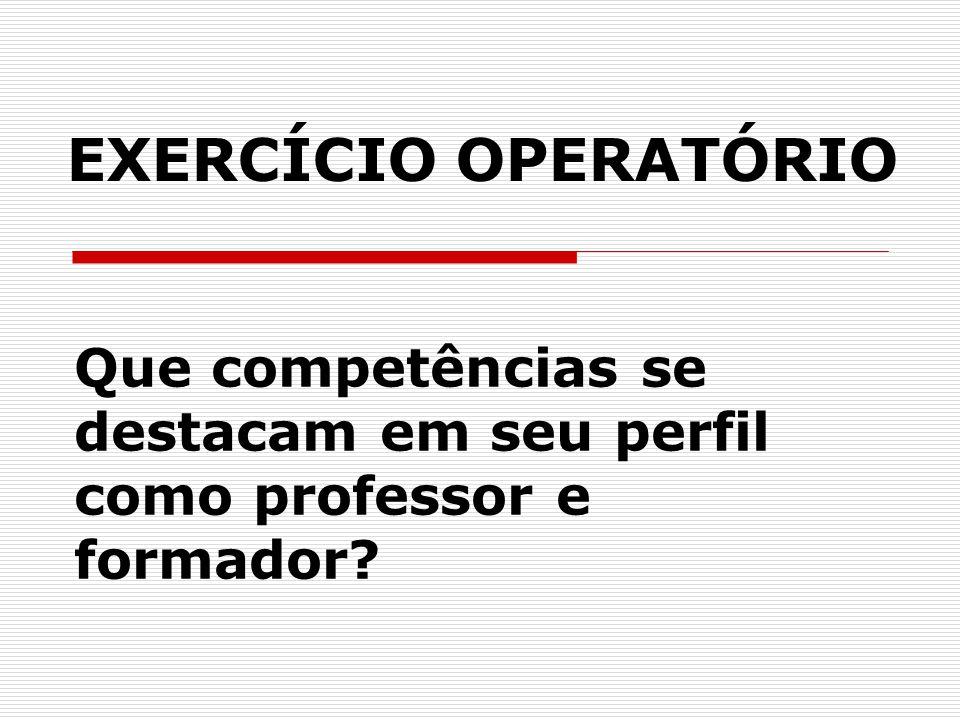 Que competências se destacam em seu perfil como professor e formador
